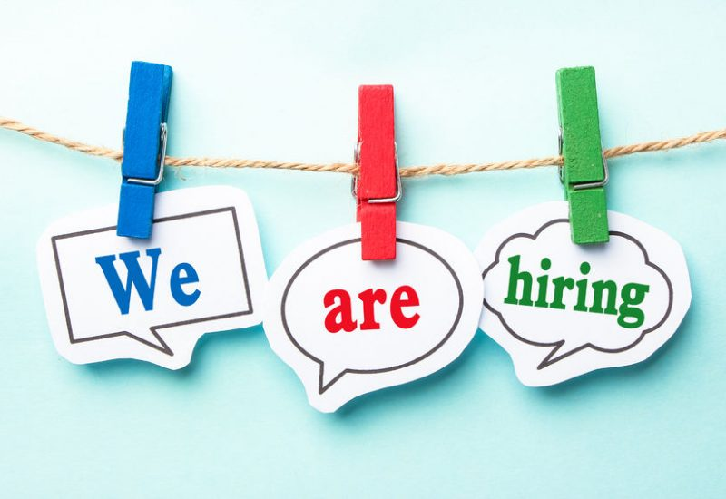 44381352 - we are hiring concept paper speech bubbles with line on the light blue background.